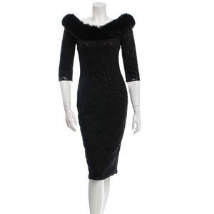 NWT PAMELLA ROLAND Mink Fur-Trimmed  Formal Dress